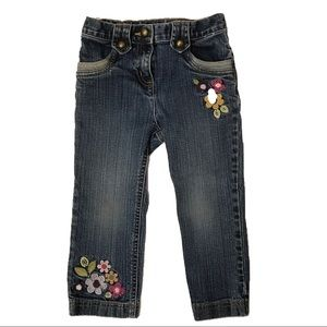 Girls Embroidered Flower Jeans